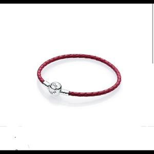 Authentic PANDORA Braid Leather/Sterling Bracelet